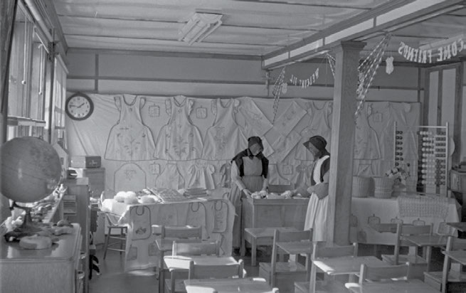 74 Truth & Reconciliation Commission Nuns working on crafts at Immaculate Conception School in Aklavik, Northwest Territories, 1955. Northwest Territories Archives, Wilkinson, N-1979-051: 1205.