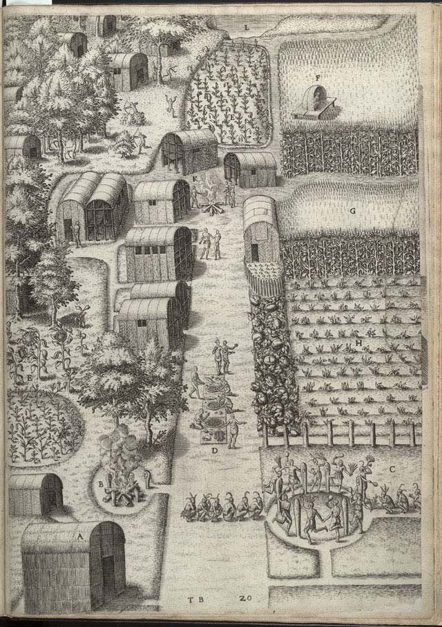Document 9: The town of Secotam. From the book The True Pictures and Fashions of The People In That Part Of America Now Called Virginia. Engraving by Theodore De Bry 1588.