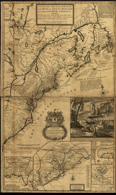 Document 13: Map of North America by Herman Moll, d. 1732. Detail showing beavers building a dam. Document 14: Captain John Smith, A Map of Virginia 1612.