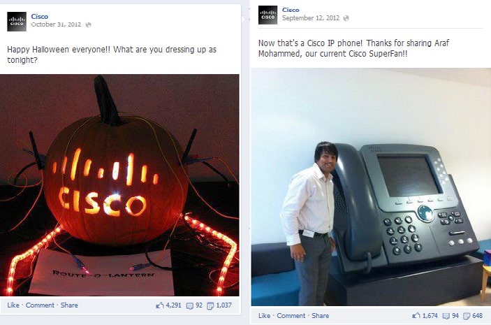 OMG Routers Are So Funny The most shared Cisco post in the last six months was holiday-oriented.