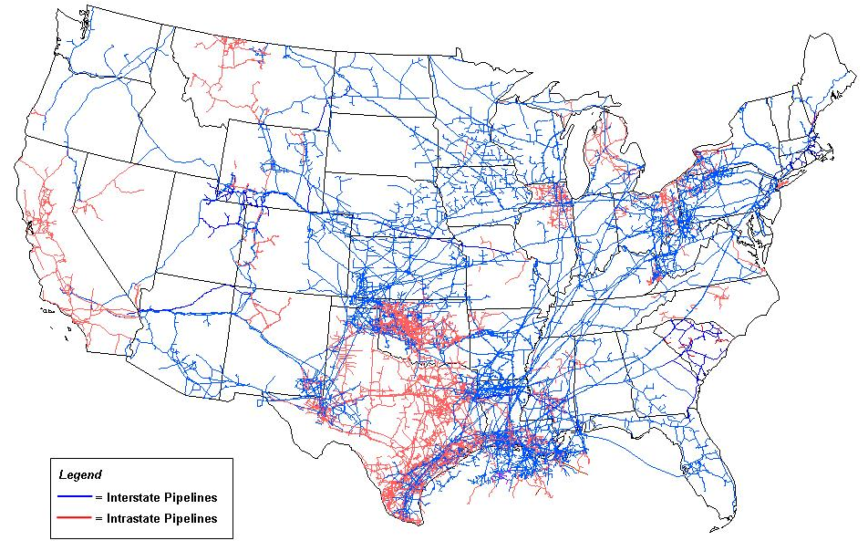Figure 6. U.S. natural gas pipeline network in 2009 (EIA 2012). From the U.S. Energy Information Administration (EIA), Office of Oil and Gas Division, Gas Transportation Information System.