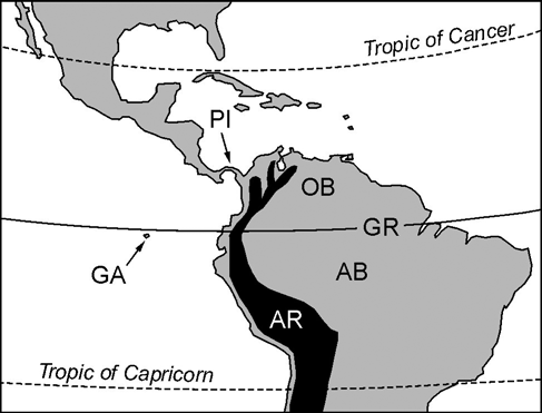 Speciation timing and Neotropical biodiversity Orsis 22, 2007 107 Figure 1. Sketch-map of the Neotropical region showing the main geographical features quoted in the text.
