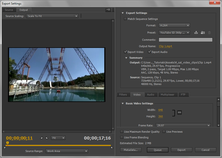 Exporting the edited clips as separate video files With each clip trimmed, and edited, you can export them to separate files by using several export presets.