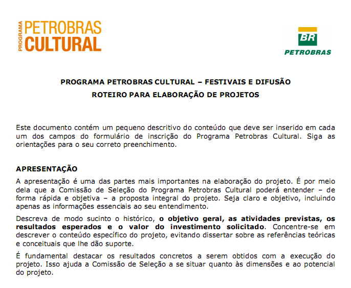 Appendix E: Highlight of Petrobras call for proposals Extract of a guide to help