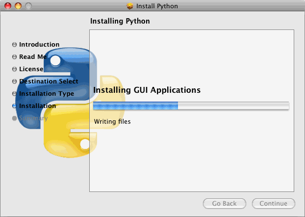 The installer will display a progress meter while it