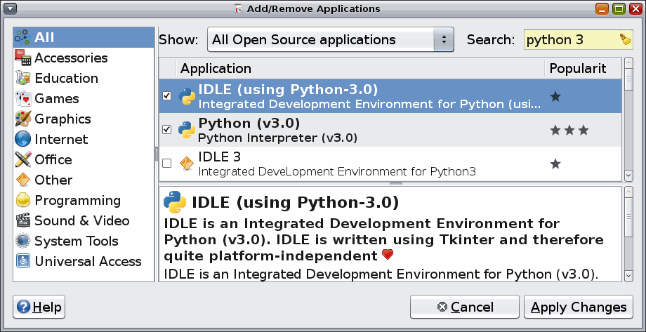 Now the list of applications narrows to just those matching Python 3. You re going to check two packages. The first is Python (v3.0). This contains the Python interpreter itself.
