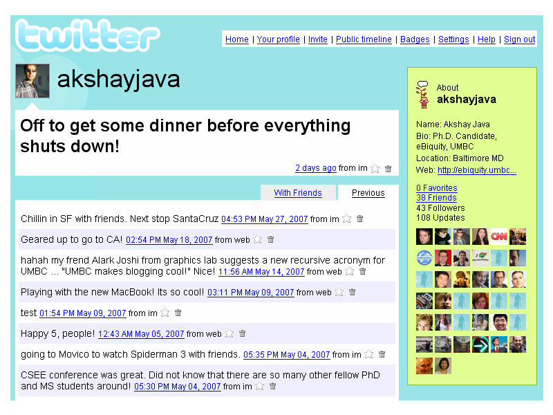 Why We Twitter: Understanding Microblogging Usage and Communities Akshay Java University of Maryland Baltimore County 1000 Hilltop Circle Baltimore, MD 21250, USA aks1@cs.umbc.