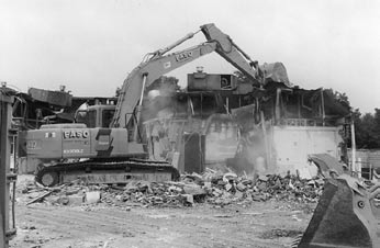 The demolition of Park Forest Plaza mall. Photo courtesy Village of Park Forest. partment stores are attracted to these more competitive centers.