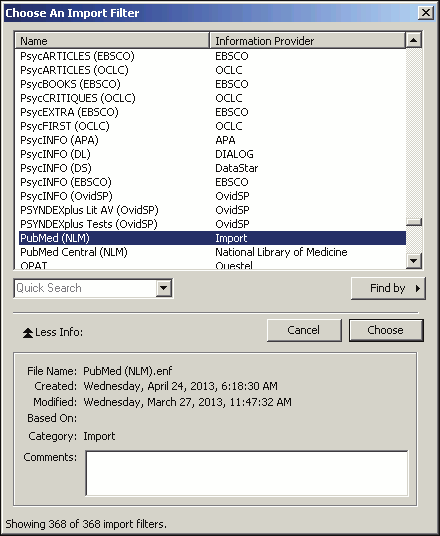 To import the sample PubMed text file into the sample library: 1. From the File menu, select Import File. 2. Click the Choose button to display a file dialog. 3.