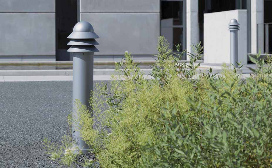 GRY200 SERIES Bollard, shielded light source, symmetric. IP55, Class I. IK10. Marine-grade, die-cast aluminium alloy. 5CE superior corrosion protection including PCS hardware.
