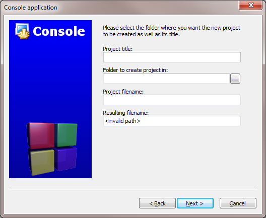 "After clicking ""Next"", Code::Blocks will then prompt you with where you'd like to save the console application: I'd recommend you put it in its own folder, as it may create several"