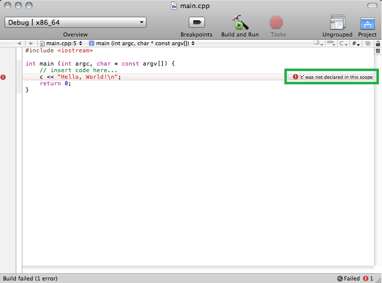 In the green rectangle, you can see the compiler error that XCode doesn't know what 'c' is.