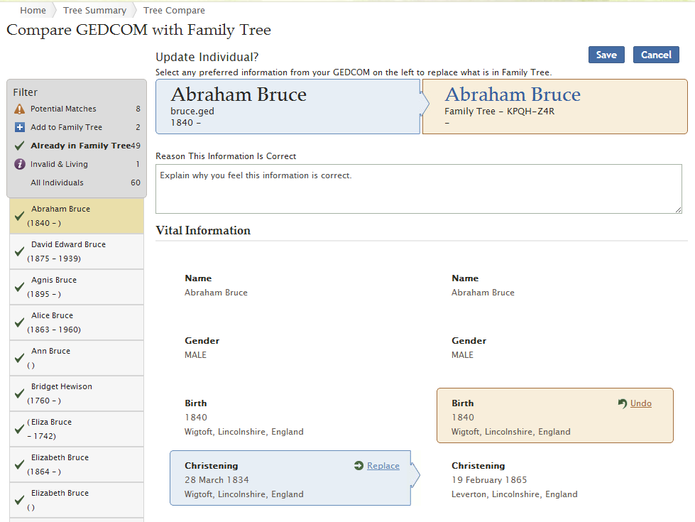 b. In the reason field, enter a statement that explains how you know that the information from your GEDCOM file is more accurate than what Family Tree already contains.