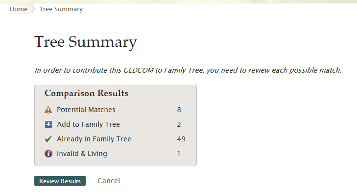 b. Wait while the system compares your GEDCOM file to Family Tree. The larger your GEDCOM file, the longer this upload process takes.