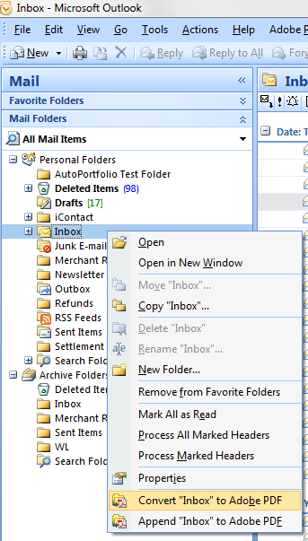 Step 3: Exporting Outlook Email Folder to PDF Portfolio File Select an email folder (for example Inbox ) you want to convert and press right mouse button, then select Convert Inbox to Adobe PDF from