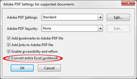 Make sure Convert entire Excel workbook option is checked unless this option is not desirable for