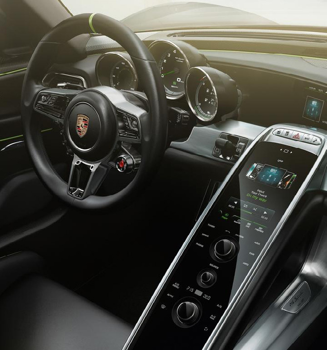 B. Touch Screens with Haptic feedback Touch screens are being put forward as the sole modes of control in automotive HMI, as demonstrated in the large-screen iterations in the Porsche 918 and
