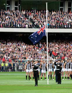 We Remember ANZAC Image D: Ceremony at the Melbourne Cricket Ground before the Anzac Day AFL match, 2013.