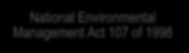 The Constitution of the Republic of South Africa National Environmental Management Act 107 of 1998 NEM: Integrated Coastal Management Act 24 of 2008 NEM: Waste Act 59 of 2008 NEM: Biodiversity Act 10