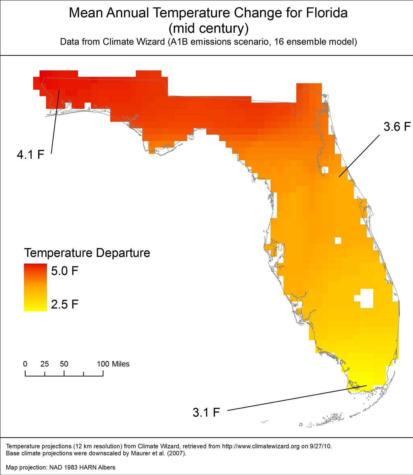 Figure 2. Projected change in mean annual temperature for Florida by mid century.