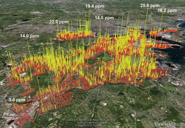 Methane leaks as mapped across the City of Boston by Boston University Professor Nathan Phillips.