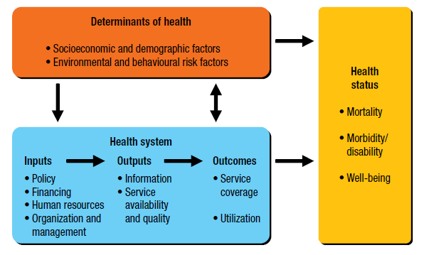 frameworks produced by the World Health Organization; the Health Metrics Networks (2008), Domains of measurement for health information systems (Figure 5) was selected as the most appropriate tool to