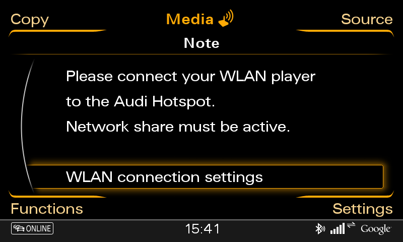 7. MMI WLAN - SSID und Password Please keep in mind that the MMI WLAN can just be activated / is just activated if the car ignition is switched on!