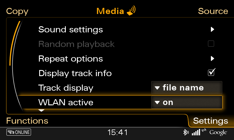 On the following screenshot you can see what the Settings menu looks like.