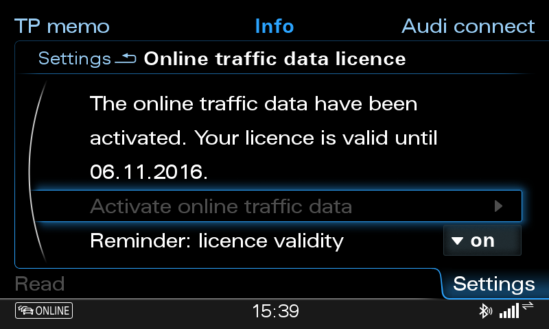 Your MMI screen should now show you a menu, where Activate online traffic data is not grayed out (compared to the screenshot above). Please click on that and wait for a response from the server.