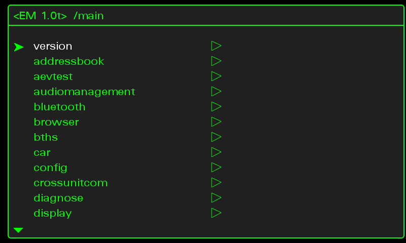 6. MMI Configuration (green menu) Please use the MMI controls to enter the green menu.