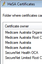 Click the Import Medicare certificate button to import the Medicare Australia public key.