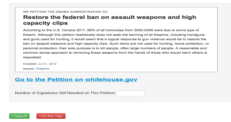 Figure 1: Screenshot of the gun-control petition page.
