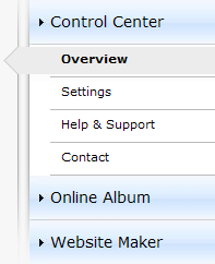 At a glance, you can see which Online Album you are using (free, classic, or premium) if it is active. The same applies to Website Maker, which is available as a free, easy, and deluxe version.