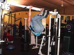 This modification from the hanging leg raise basically reduces the amount of weight that you