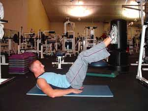 Lying leg thrusts This is a two part exercise a halfway down leg raise followed by a hip thrust.