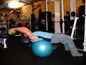 Stability ball ab crunches Stabilize your body on a stability ball by finding your balance point for performing a crunch movement (your lower back will be on the top of the ball).