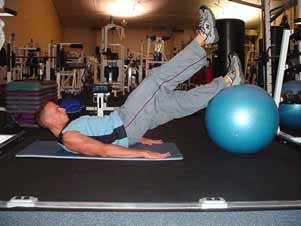 Straight leg bridge with single leg curl on stability ball Lie on your back with your feet up on a stability ball and hips off the