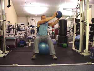 RAISE RIGHT ARM AND LEFT LEG RAISE LEFT ARM AND RIGHT LEG Medicine ball or cable lateral chopping on stability ball Sit on a stability ball holding a medicine ball with both arms out to the side