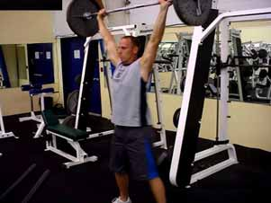 Barbell overhead squats The overhead (OH) squat is the most difficult of the three basic squats by far!
