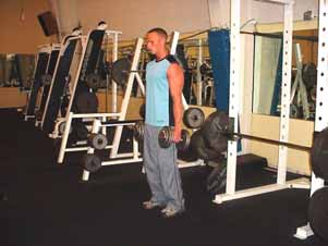 Dumbbell lunges (walking or standing) Stand holding two dumbbells at arms length and lunge forward until your thigh is approximately parallel to the ground.