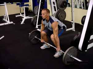 Barbell high pulls This exercise basically combines an explosive style deadlift with an upright row. Once again, begin in the deadlift starting position.