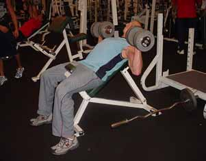 Barbell or dumbbell incline or flat bench presses Lie on a flat or incline bench with a slightly wider than