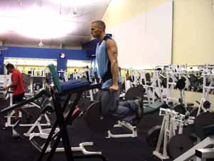Dips On a dip bar, lower your body such that your upper arms come down to a position parallel to the ground, then press back up to top position using your triceps, shoulders, and chest strength.