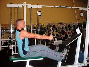 Seated horizontal cable rows Sit with knees slightly bent and row a wider grip attachment up to your upper abdominal area while maintaining a flat back.
