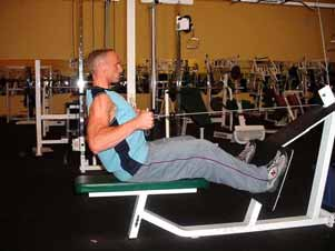 START/FINISH MIDPOINT Overhead barbell or dumbbell presses Perform overhead barbell presses in front of the body trying to avoid leaning back too far, since performing them behind your neck