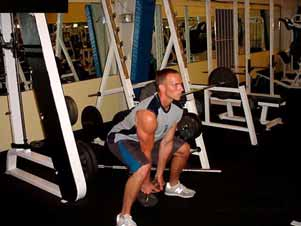 hip/leg thrust to power the weight back up into another swing.