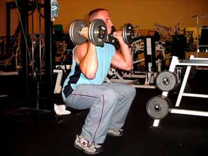 6. Dumbbell squat & presses This is a great combination exercise since it works almost your entire body at once, giving you a very intense workout.