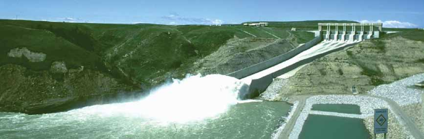 4.3 Hydroelectric Dams and Reservoirs A typical hydroelectric or water power development consists of three main parts: a human-made dam across a river, a water storage reservoir created by the dam,