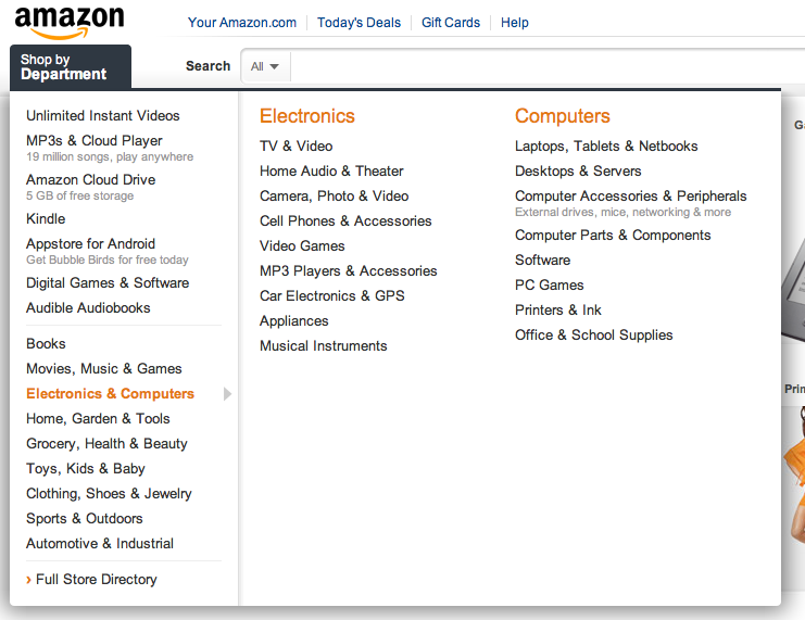 for example has a large content and because of that they have worked out very good navigation for such an amount of data on their page (see figure 4). Figure 4. Navigation preview from www.amazon.