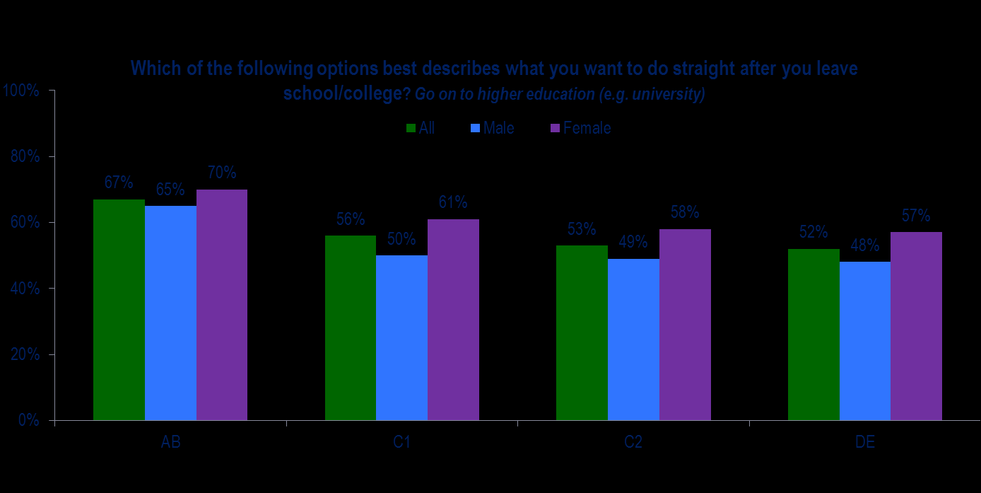 Those from higher social grades are more likely than those from all other social grades to say that they plan to go on to higher education when they leave school or college.